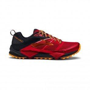 BROOKS Cascadia 12 Homme Rouge / Orange / Noir Profil Extérieur
